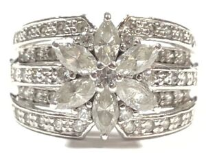 Beautiful Ladies Sterling Silver CZ Floral Design Ring - Signed BSD - Size 6.5