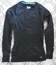 Under Armour Women's Base 3.0 Long Sleeve Crew Size XL Color Black/Cyan New