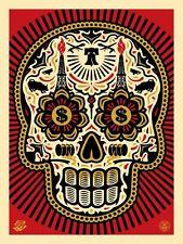 Shepard Fairey Ernesto Yerena Power Glory Skull Red Gold Large Format Print 75