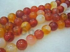 DIY 10mm Orange Fire Red Agate Gemstone Smooth Round Gemstones Strand Batu Asli