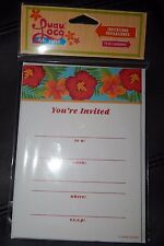 10 Luau Loco Invitations Gartner Party Tiki Invites Beach Hibiscus Floral White