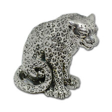 New Electroformed Silver cute miniature puma sculpture gift nature animals cat