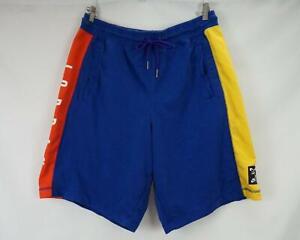 Nike Air Jordan Shorts Men's Drawstring Sweat Basketball Blue & Yellow XL