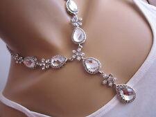 STRASS Collier Damen Hals Kette Modekette kurz Kristall Silber Statement C543