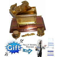 "7"" Ark Of Covenant Jewish Gold Statue Plated Copper Gift Tallit Prayer Shawl"
