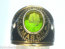 Prince Hall Mason Masonic August Green Peridot Birthstone Men's Ring Size 12