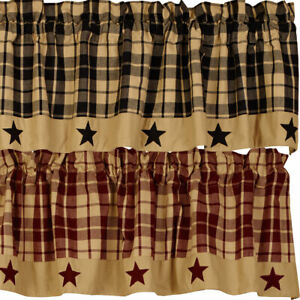 Primitive Farmhouse Star Appliqued Lined Valance, Black, Tan, Burgundy