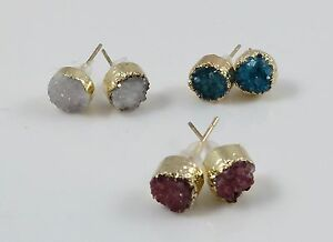 Gold-plated Agate Druzy Studs 8mm