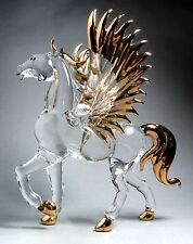 PEGASUS HORSE Gild Wings 4.5 INCHES Hand Blown ART GLASS Figurine Standing GIFT
