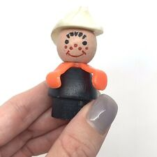 Vintage Fisher Price Little People Wood Firefighter Hat Black Body