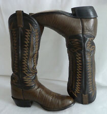 """TONY LAMA Cowboy Western Boots Mens Brown Size 8.5E Leather 16"""" Tall Tx USA 6442"""