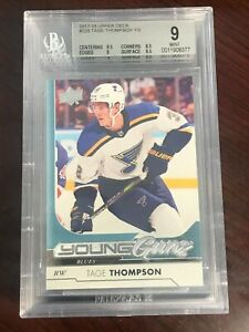 2017-18 Upper Deck #228 Tage Thompson YG RC Young Guns Rookie BGS 9 MINT!!