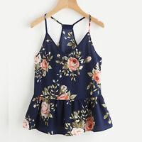 Mujer Verano Playa Blusa Camisetas De Tirantes Floral Sin Mangas Corto