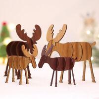 Wood Christmas Elk Deer Ornaments Xmas Tree Hanging Decoration Pendant Gift 1PC