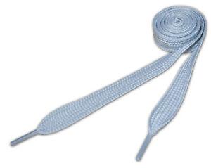 Super Fat Shoelaces Coloured Flat Skate Shoe Laces Trainers Boots Wide Silver