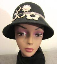 Black WOOL Felt AUGUST CLOCHE Bucket Hat w Gray & Ivory FELT FLOWER APPLIQUES