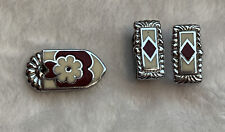 "Vintage Inlayed Belt Tip and 2 Keepers Fit 3/4"" Belt Maroon, White, Silver"