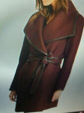 DKNY Faux-Leather Trim-Wrap Coat