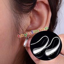 Jewelry Fashion Lady Teardrop Hook Stainless Steel Silver Plated Hoop Earrings