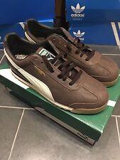 Puma Roma angustiado Brown UK 9 Rom Roma agrietado Cuero como Adidas Chile 62 GV