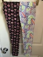 NWT X2 LulaRoe Girls Tween Leggings Floral Flowers Black Tie Dye Disney 0 OS TC