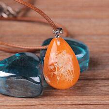 Elegant Women Glow In Dark Flower Stone Resin Waterdrop Pendant Necklace Jewelry