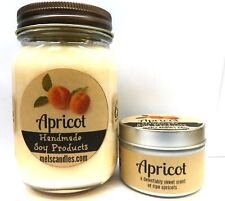 Combo - Apricot 16oz Country Jar and 4oz Candle Tin Hand Made Soy Candles