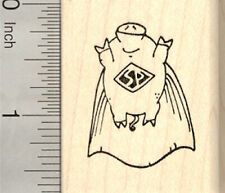Flying Pig Rubber Stamp, Super Hero with Cape E23813 WM