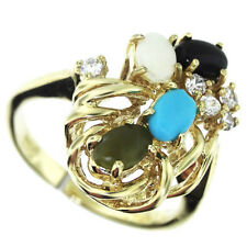 Multiple Color Stones and Clear Crystal Gold EP Ladies Classic Ring Size 10