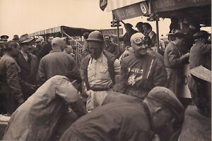 G.FARINA & C.SANESI IN PITS, DAILY EXPRESS MEETING SILVERSTONE MAY 1951 PHOTO.