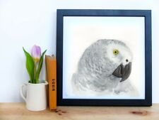 African Grey Original Watercolour painting, Limited Edition A5 Wildlife Print