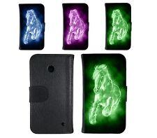Book Tasche für Handy Design Schutz Hülle Case Cover Wallet  Motiv horse Pferd