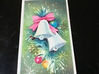VTG 1940s Aqua Teal Christmas Greeting Card White Bells Pink Bow