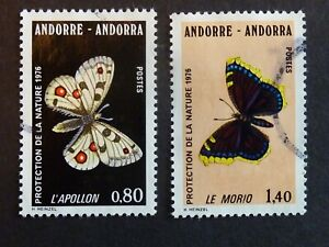 B08]  FRENCH STAMPS - ANDORA - 1976 - SG F277 / F278 - FINE USED -