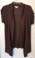 Cold Creek Women's Cap Sleeve Loose Weave Brown Medium Linen/Rayon Sweater
