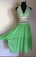 Gorgeous Vintage Green Gauze Mexican Halter Dress Embroidered Boho Guatemalan S