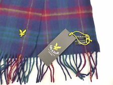 Lyle and & Scott Scarf Lambswool Tartan Blue