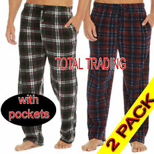 2 Pack Mens Pyjamas Lounge Pants Pyjama Bottoms Trousers Pjs Nightwear Fleece