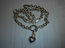 Italian Sterling 1 Ounce Big Loop Dangling puffy open heart Vintage NECKLACE