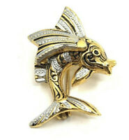 Vintage Damascene Fish Gold Tone Silver Fins and Black Eyes Brooch Pin