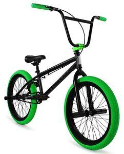 "Elite 20"" BMX Stealth Bicycle Freestyle Bike 1 Piece Crank Black Green NEW 2021"