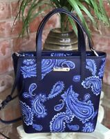 MICHAEL KORS Emry TOTE Admiral BLUE Paisley PURSE Leather MEDIUM NS NWT $298