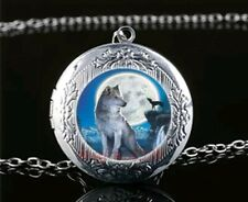 Wolf With Moon Cabochon LOCKET Pendant Silver Chain Necklace USA Ship