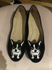 Black velvet Frenchie shoes by Kerrie Hess for La Baccarina