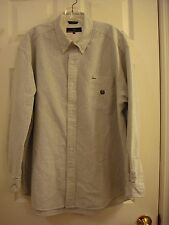 Woods & Woods White & Gray Stripped Long Sleeve Button Collar Shirt Mens Size XL