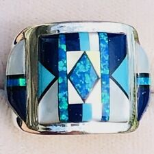 SUPERB CIGAR BAND Turquoise Black Opal Ring 8.5 -9 Sterling Silver 925 gemstone