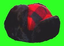 "Large ""Dog"" Ear Flap Trapper / Trooper / Lumberjack Red / Black Wool Hunting Cap"