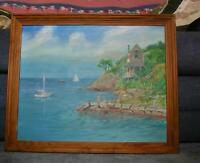VINTAGE LANESVILLE GLOUCESTER CAPE ANN SAIL BOATS OCEAN HOUSE NAUTICAL PAINTING