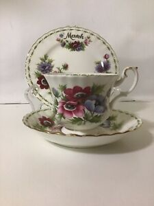 """Royal Albert Flower Of The Month Trio - MARCH- """" ANEMONES"""":/ England / Mint"""