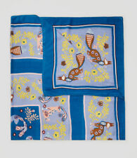 Ann Taylor LOFT Scarf Square Fox Rabbit Print Teal Blue Brown Yellow Cotton New